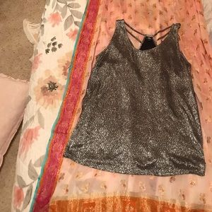 Rock and Republic Sparkly Silver/Black top Sz L